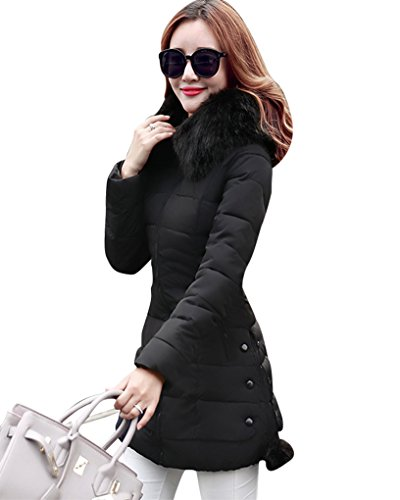 MISSMAO Langarm Steppjacke Mantel Mittel Lang mit Kunstpelzkapuze Warmen Outwear Wintermantel Jacke Parka Elegant für Damen Schwarz XL