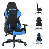 WV LeisureMaster, sedia ergonomica da gaming con poggiatesta e supporto lombare, sedia da lavoro girevole regolabile (blu2) .