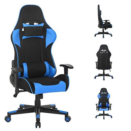 WV LeisureMaster Ergonomischer Gaming-Stuhl Bürostuhl mit Kopfstütze und Lendenwirbelstütze, verstellbarer Drehstuhl (Blue4)