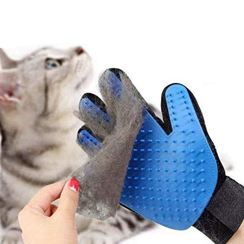 1 Pezzi Guanto Spazzola Cani Gatti di Massagio Guanto , per Raccogliere i Peli e Togliere i Peli, Blu (Tutt mano destra)