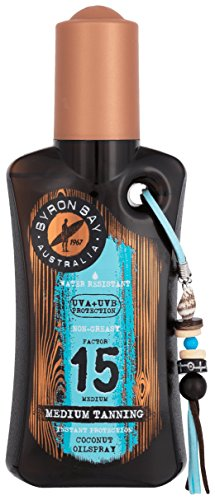 Spray d'huile solaire SPF 15 de Byron Bay, 200 ml, huile solaire Cocos imperméable, spray solaire SPF 15 pour les vacances, superbe huile pour le corps avec parfum et protection
