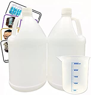White Plastic jug, Jug Container with All Purpose Labels, Beaker and Lids, HDPE Material, for Home and Commercial Use, 2 P...