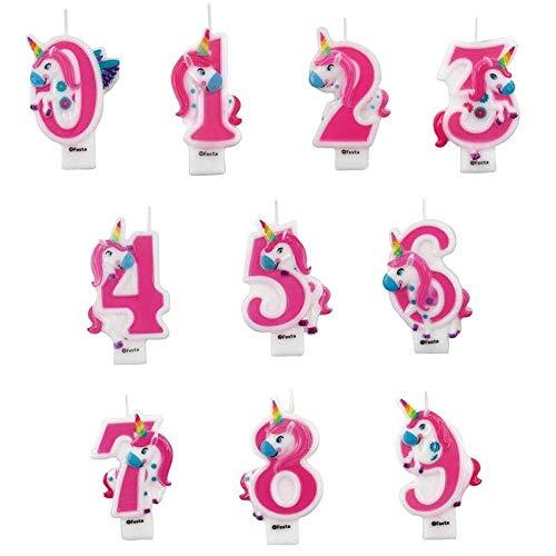 Vela Unicornio Cumpleaños 4 Número Original【Números de 0 a 9】[Medida 9 cm] Celebraciones Fiestas Cumpleaños Aniversarios Bodas Jubilaciones
