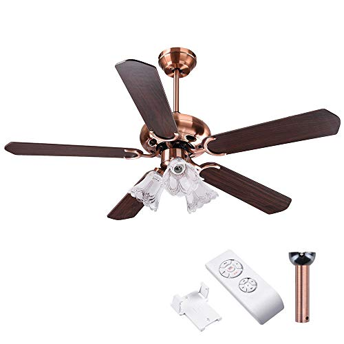 "Yescom 48"" 5 Blades Ceiling Fan with Light Kit Frosted Glass Downrod Antique Copper Reversible Remote Control"