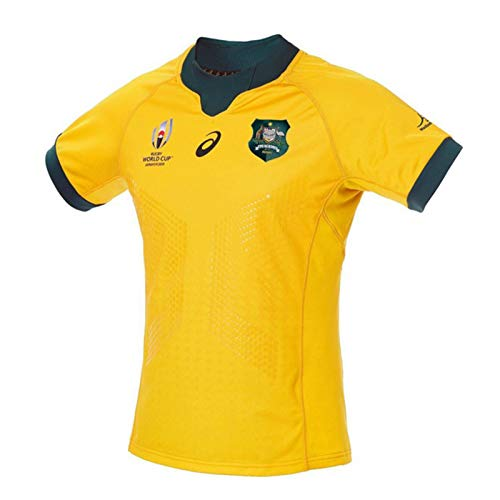 Australian Rugby Jersey Top, Tracksuits Rugby WM 2019 RWC Jersey, Aus Baumwoll-Jersey-Grafik-T-Shirt Rugby Short Sleeve Pro Trikots, Ehemann Oder Sohn XL