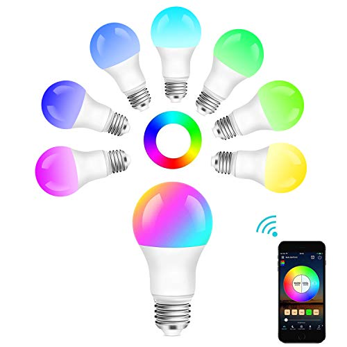 Bombilla WiFi Inteligente, Foco LED Inteligente Regulable 10W 900 Lm Lámpara, E26 Multicolor Bombilla Control de voz por Amazon Alexa y Google Home(1PACK)