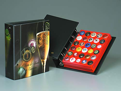 ID-Safe Champagne Album 7 Pochettes Velours Rouge pour 210 Capsules de Bouteilles de Champagne 7965SP