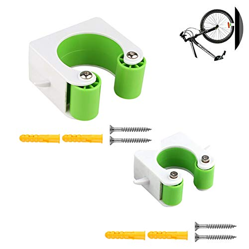 JSWANG Bicycle Rack Storage Bike Parking Buckle Wall Hanger Stand Mountain Road Bikes Holder Clip Cycling Display Hook Green A+Green B