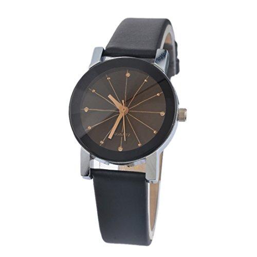 Souarts Womens Black Artificial Leather Round Dial Quartz Analog Wrist Watch