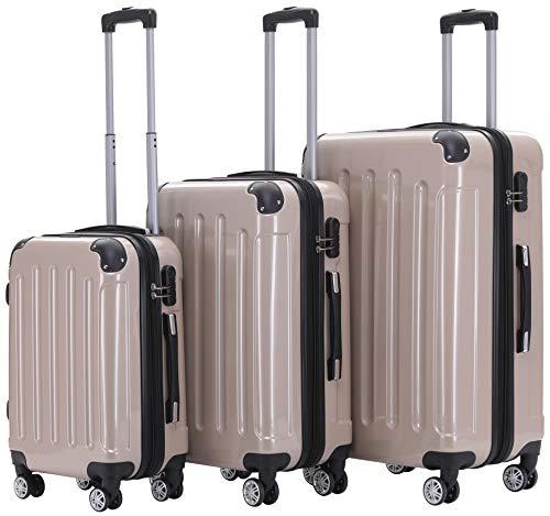 BEIBYE Zwillingsrollen 2048 Hartschale Trolley Koffer Reisekoffer Taschen Gepäck in M-L-XL-Set (Champagner, Set)