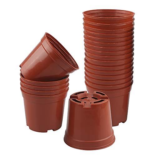 KINGLAKE- Macetas redondas de plástico (50 unidades, 7,5 cm, con bandejas, para plantas suculentas, pequeñas macetas