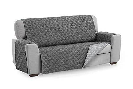 Textilhome - Funda Cubre Sofá Malu, 3 Plazas, Protector para Sofás Acolchado Reversible. Color Gris C/3