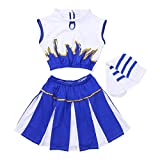 moily Kids Girls Cheerleading Outfit Crop Top with Pleated Skirts Socks Rooter Team Uniform Cosplay Costume White&Blue 7-8