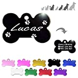 Iberiagifts - Hueso para Mascotas Medianas-Grandes con Patas Placa Chapa de identificación Personalizada para Collar Perro Gato Mascota grabada (Negro)