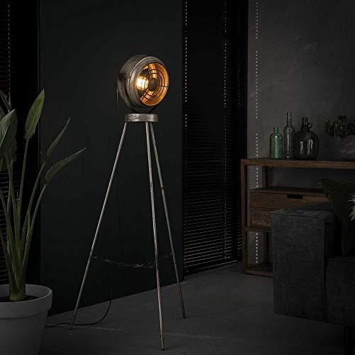 famlights Stehleuchte Leo aus Metall, Silber, E27, 1330cm, Industrial Design | Dreibein Stehlampe für Wohnzimmer...