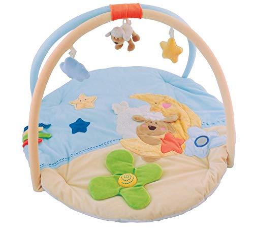 Bieco Krabbeldecke mit Spielbogen für Babys, Schaf Betty | ∅ ca. 90 cm | süße Mobile Spieldecke Baby | Activity Center Baby Gym | Spielmatte Baby | Spielteppich Mädchen & Junge | Erlebnisdecke