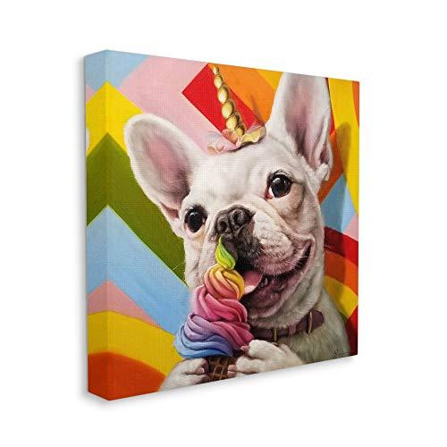 Stupell Industries Rainbow French Bulldog Unicorn Ice Cream Colorful, Designed by Lucia Heffernan Wall Art, 30 x 30
