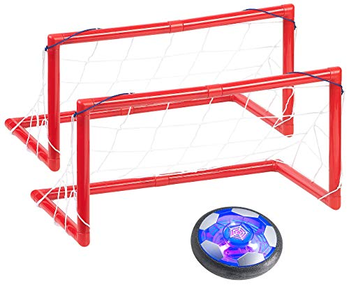 Playtastic Luftkissenfussball: Akku Luftkissen-Indoor-Fußball, Farb-LEDs, Möbelschutz, 2 Tore (Hooverball)