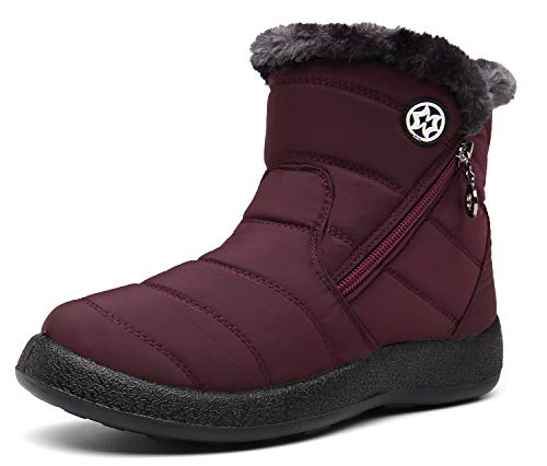 Hsyooes Womens Warm Fur Lined Winter Snow Boots Waterproof Ankle Boots Outdoor Booties Comfortable Shoes for Women Red