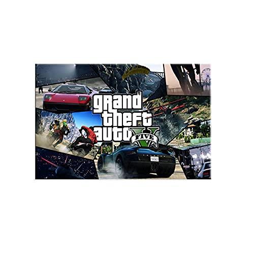 Yiwuyishi Big Auto Theft V Videojuego GTA 5 Art Canvas Poster Imágenes de Pared para decoración de Sala de Estar Hogar y cafetería Bar 50x70cm P-229