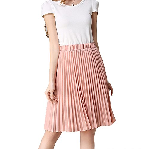 TEERFU - Falda plisada rodilla mujer Rosa rosa Talla