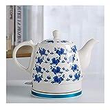 AWJ Kettle Tetera eléctrica de cerámica inalámbrica Retro 1.2L Olla, Puede Preparar té, café, Sopa, hervido rápido, Apagado automático y protección antiseco (Azul y Rojo)