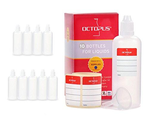 10x Frascos para líquidos de 100 ml con embudo para, p. ej, E-líquidos o cigarrillos electrónicos, frascos cuentagotas o exprimibles más tapón blanco con cierre de seguridad para niños