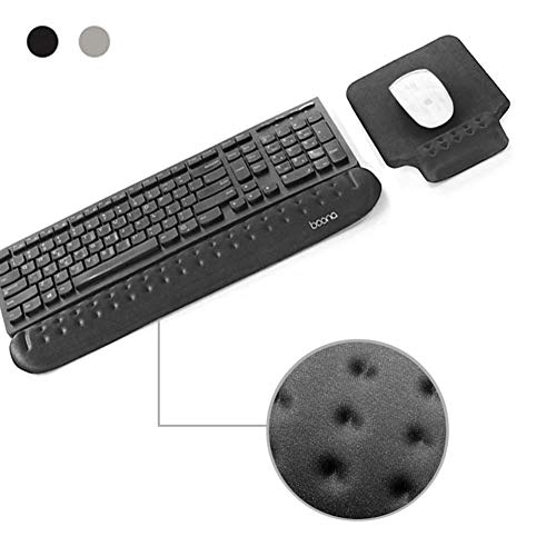 BOONA Memory Foam Keyboard Wrist Rest, Comfortable Keyboard Pad,Ergonomic Design Suitable for Office, Games for Wrist Pain Relieve (Black with Mouse pad)