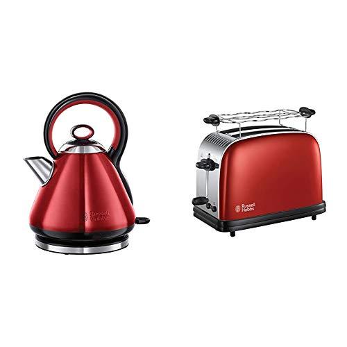 Russell Hobbs Toaster Colours+ rot, 2 extra breite Toastschlitze, 1670W, 23330-56 & Wasserkocher, Legacy rot, 1,7l, 2400W, Schnellkochfunktion, Quiet-Boil-Technologie, optimierte Ausgusstülle