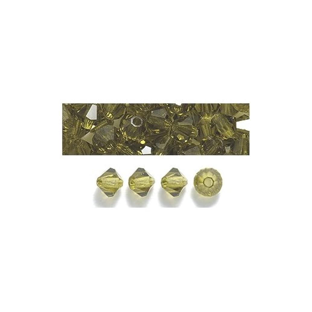 Preciosa 4-Mm Czech Crystal Diamond/Bicone Bead, Olivine, 144-Piece
