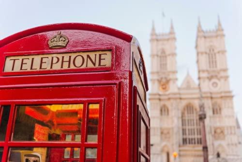 OKWallArt Kit de pintura 5D de diamante para manualidades, kits icónicos de Londres, cabina de teléfono rojo, abadía de Westminster, decoración de pared del hogar, 30 x 20 cm