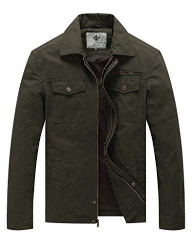 WenVen Herren Militär Jacke mit Knöpfen Windbreaker Grün XL