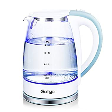 Gohyo Electric Kettle, 1.8-Liter 1500W Glass Electric Tea Kettle, Water Heater Kettle for Fast Boiling, Hot Water Boiler Pot with Auto Shut off and Boil-Dry Protection, FDA Approved, BPA-Free