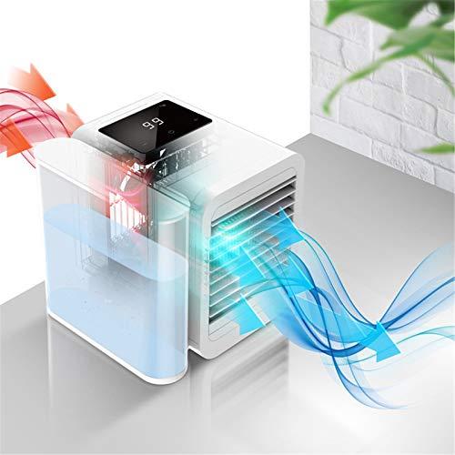 Vogvigo Mini Enfriador de Aire portátil humidificador 4 en 1 Purificador de Aire LED de 7 Colores con Pantalla táctil LCD Tanque de Agua Grande de 1000...