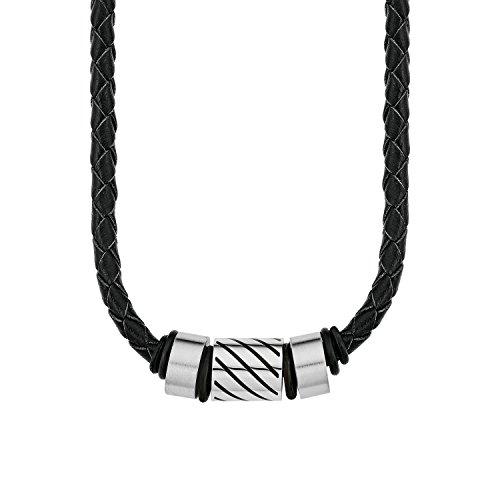 Amor Herren-Kette Lederband geflochten Edelstahl Beads schwarz 45 cm