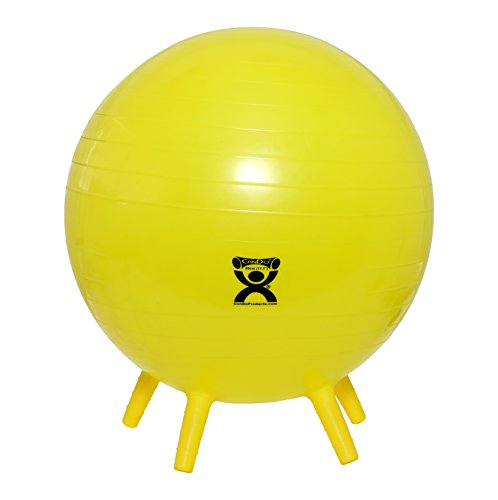 CanDo NonSlip Inflatable Exercise Ball with Stability Feet, Yellow, 17.7