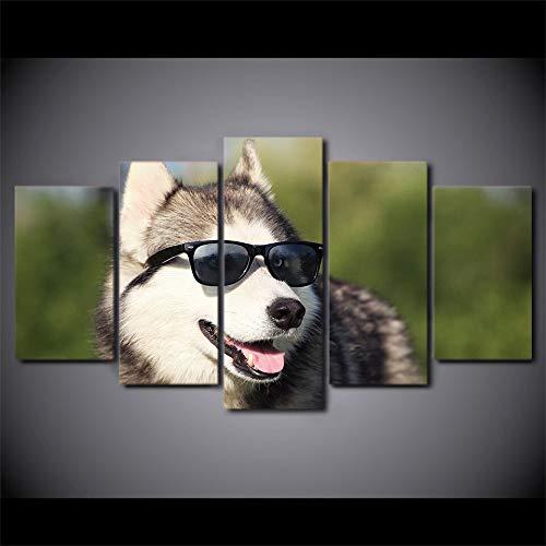 MMLFY 5 Canvas foto's Moderne Huiscultuur HD gedrukt canvas poster kunstwerken 5 stuks Cool Husky Pet schilderij muurkunst hond dragen glazen beelden