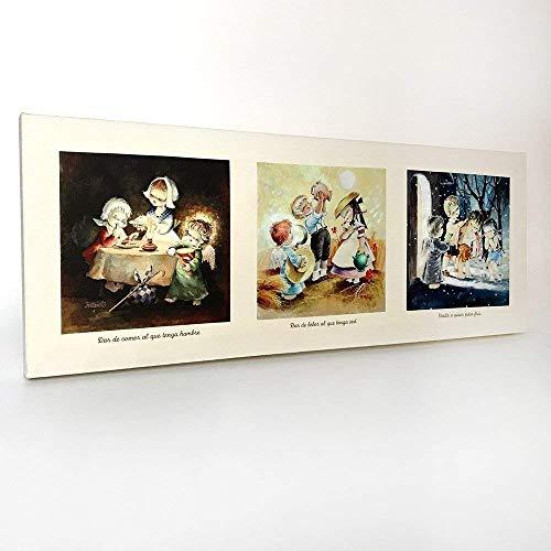 Cuadro 3 Obras de Misericordia Corporales 80x30cm. Ilustración de Juan Ferrándiz impresa en lienzo. Serie limitada y numerada. Regalo Comunión