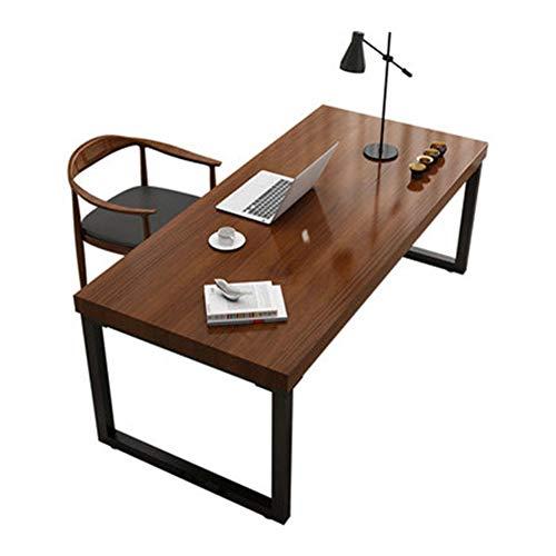 RLIRLI Moderne minimalistische kantoor massief houten tafel en stoel combinatie studie smeedijzers individuele computertafel slaapkamer vrije tijd werkbank