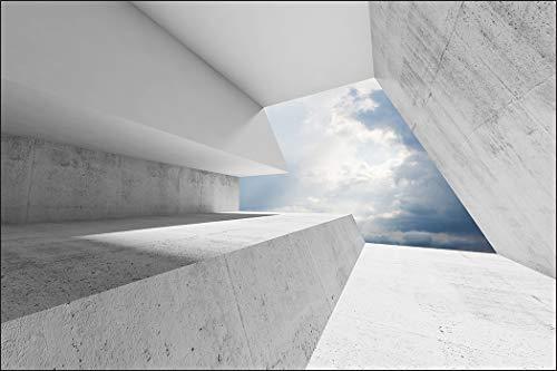 Muralo Fototapete 3D Effekt 150 x 225 cm Vlies Wand Tapete Tunnel Abstraktion Optische Täuschung 3D Optik Wohnzimmer Schlafzimmer Moderne Wandbild