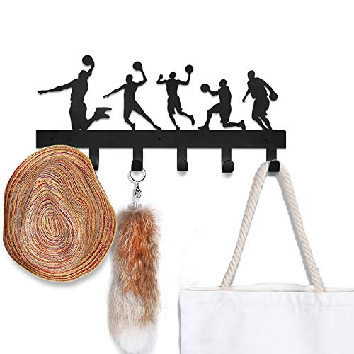 CoolPlus Wall Hooks for Coats and Hats Entryway Backpack Hanger Clothes Rack Key and Dog Leash Holder Foyer Hallway Bathroom Bedroom Rail Children Room Decor Basketball Pattern Black Finish