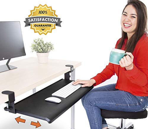 Stand Steady Easy Clamp On Keyboard Tray - Large Size - No Need to Screw into Desk! Slides Under Desk - Easy 5 Min Assembly - Great for Home or Office! (Renewed)