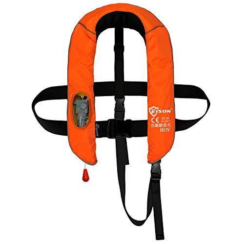 EYSON 子供用 首かけ インフレータブルライフジャケット 自動膨張式 救命胴衣 釣り用 CE認定済(オレンジ)