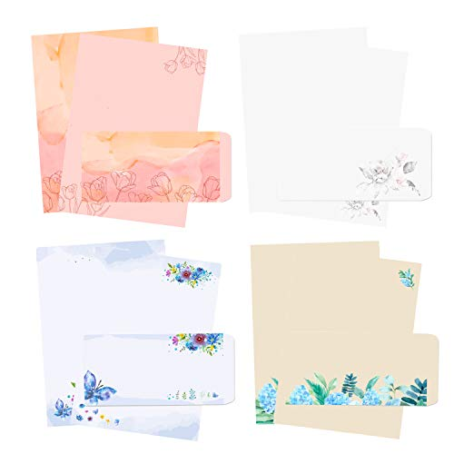 48Pcs Stationary Writing Paper with Envelopes - Japanese Stationery Set Double Sided Printing Floral Letter Writing Paper, 32 Stationary Papers + 16 Envelopes, 7.5 x 10.4 Inch of Each Stationary Paper
