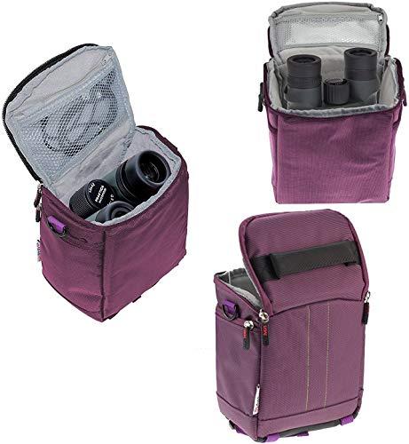 Navitech Purple Portable Binocular Shoulder Bag - Compatible with The Eono 10x42 Compact Binoculars