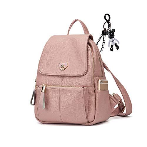 AINUOEY Damen Rucksackhandtaschen Elegant Anti Diebstahl Frau Damenhandtaschen Stadtrucksack Henkeltaschen Lotus Wurzel Rosa