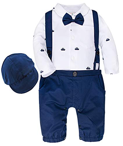 A&J DESIGN Baby Junge Formell Outfits Taufe Strampler Anzug (Blau, 18-24 Monate)
