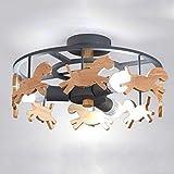 XMYX Plafonnier Creative Design Moderne Plafonnier LED Lampe Pépinière Chambre Salon Lampe de Plafond E27 Base, 3 Lumière, Fer Forgé, Lampe en Bois,Gris