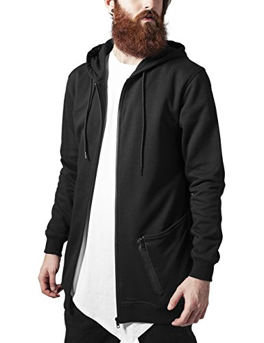Urban Classics Herren Long Peached Tech Zip Hoody Kapuzenpullover, Schwarz (blk 17), Large