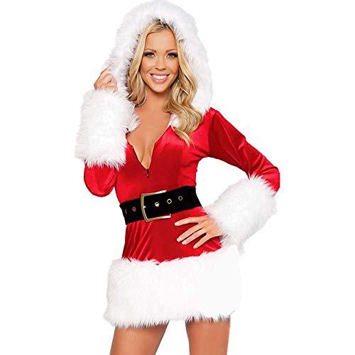 MIYAA Damen Dessous,Kapuze Plüsch Dessous Babydoll Spitze Tanga Nachtwäsche Frau Sexy Weihnachten T-Shirt Kleid Santa Outfit Miss Claus Kostüme Party Kostüm Kostüm Deluxe Samt Kostüm,Rot,L.
